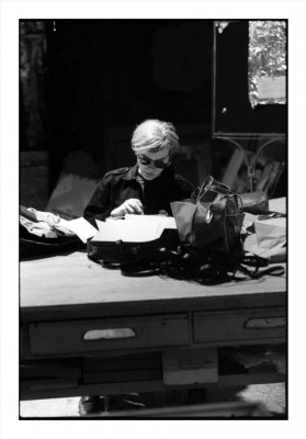 Andy at Typewriter, The Factory, NYC, 1965